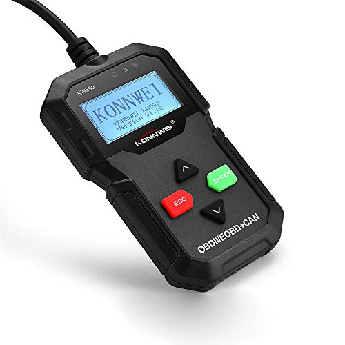 KW590 Neue Kfz Fehler Diagnose: OBD2 Diagnosegerät mit XL-LCD-Display, Motor Codeleser 12V Auto Auto Diagnostic Engine Fehler Detektor Detektor Scanner, Code Reader [2018 Upgrade Version]