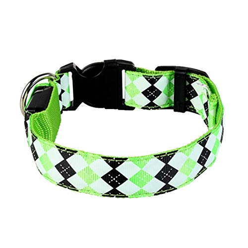 CSMZ Pet LED halsband Luminous Halsband Belt Pet halsbanden for kleine grote honden Materiaal: Polyester (Color : Green, Size : M [charged])