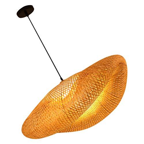 FRCOLOR Vintage Bambus Gewebtes Licht Antike Laterne Pendelleuchte Rattan Vogelkäfig Nest Weben Decke Kronleuchter Dekoration mit Lichtquelle für zu Hause Cafe Bar 40 * 25 * 20Cm