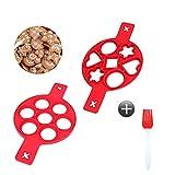 Happylohas silikon pfannkuchenformen mit 7 Löchern, antihaft pfannkuchenform, Pancake Form, mit silikonpinsel, für Eier, Donuts, Muffins, pfannkuchen (2 Stücke)