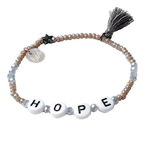 lua accessories - Armband Damen - elastisches Perlenarmband - Buchstabenperlen - ABC (hope)