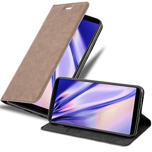Cadorabo Hülle für OnePlus 5T in Kaffee BRAUN - Handyhülle mit Magnetverschluss, Standfunktion & Kartenfach - Hülle Cover Schutzhülle Etui Tasche Book Klapp Style