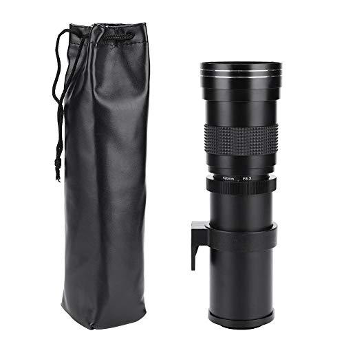 Yctze Teleobiettivo 420-800mm F / 8.3-16 Teleobiettivo Obiettivo zoom manuale per fotocamera DSLR(Nikon F)