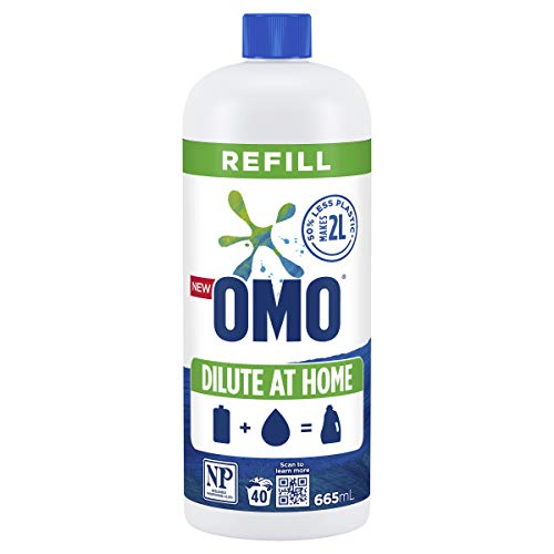 Omo Laundry Liquid Dilute at Home Refill, Concentrate Formulation, Active, 100% Recyclable 665mL (40 Washes)