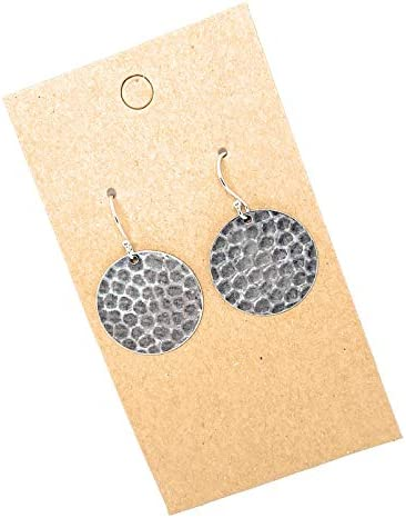 Hammered Disc Sterling Silver Earrings product image