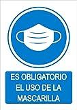 Señal uso obligatorio mascarilla - Cartel uso obligatorio mascarilla - en PVC - Medidas A4