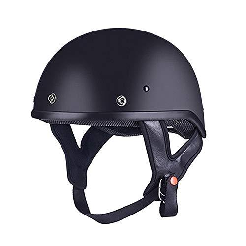 Dgtyui Casco moto mezzo volto retro stile vintage casco scooter con visiera parasole interna rimovibile morbida e confortevole fodera -Nero X XL