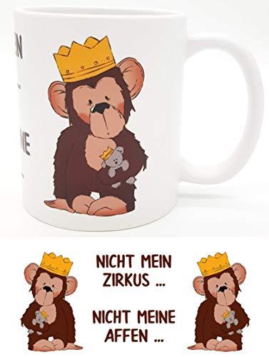 Kilala Tasse Affen Spruch Nicht Mein Zirkus - Emmapünktchen inkl. Geschenkverpackung Sprüchetasse Kaffeetasse Teetasse
