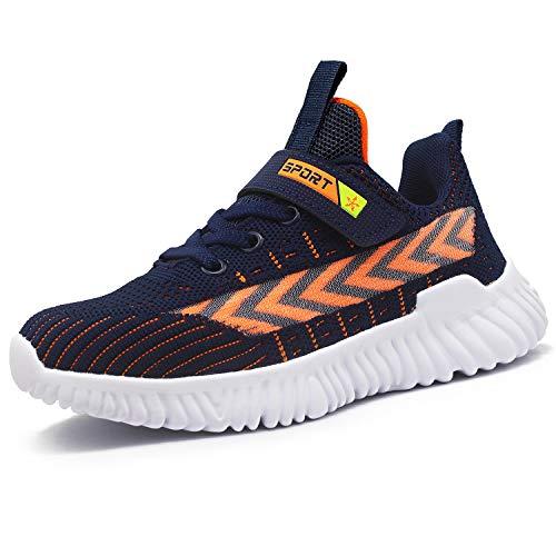HSNA Zapatillas para Niño Transpirables Ligero Zapatos Correr Antideslizante y absorción de Golpes (Negro y Azul 35 EU)
