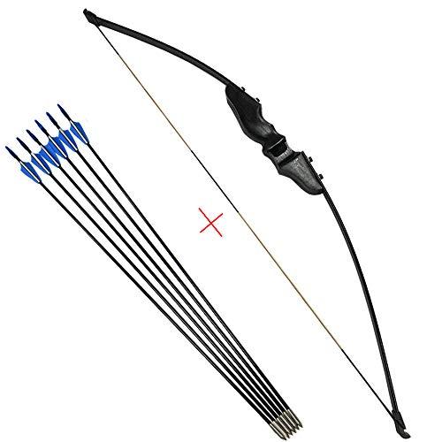 ZSHJG Arco Ricurvo e Set di Frecce Takedown Arco Ricurvo 30-40lbs Arco Dritto Caccia Adulto Principiante Longbow con 6pcs Frecce in Fibra di Vetro (40lbs)