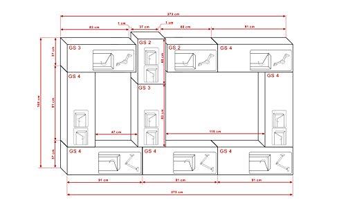 FUTURE 22 Moderne Wohnwand, Exklusive Mediamöbel, TV-Schrank, Neue Garnitur, Große Farbauswahl (RGB LED-Beleuchtung Verfügbar) (Weiß MAT base / Weiß HG front, Möbel) - 3