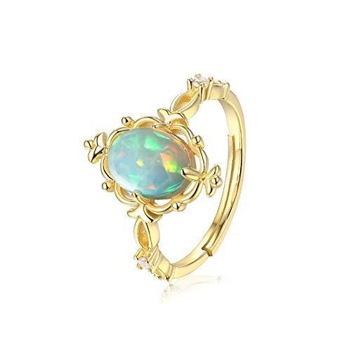 JIAXUN Ring 925 Sterling Silber Öffnung verstellbare Vintage Spitze eingelegten Opal Ei Form Damenring, Geburtstagsgeschenk, Lady Geschenk, Mutter Geschenk