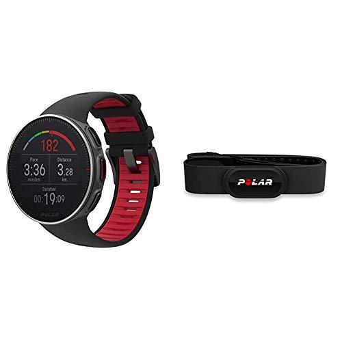Polar Unisex– Erwachsene Vantage V Titan Profi-Multisportuhr, schwarz/rot, M/L & H10 Herzfrequenz-Sensor, Schwarz, M-XXL, Unisex, ANT+, Bluetooth, EKG, Wasserdichter Herzfrequenz-Sensor mit Brustgurt
