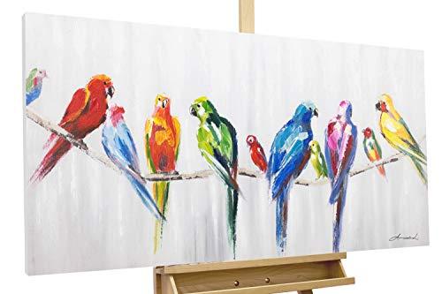 Kunstloft® Cuadro en acrílico 'Amistad 120x60cm | Original Pintura XXL Pintado a Mano Sobre Lienzo | Loros Pájaros Blanco Colorido | Cuadro acrílico de Arte Moderno en una Pieza con Marco