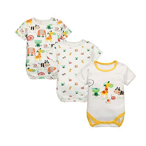 CuteOn 3 Pack bébé Filles Garçons Manches courtes Bébé Triangle Romper Coton Bodysuit 24 Mois