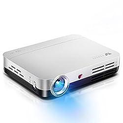 WOWOTO Mini Beamer, 3D Full HD Projektor 1280x800 Support 1080P DLP Projektor, Android 4.4 OS , mit Aufsatz, HDMI, WiFi & Bluetooth