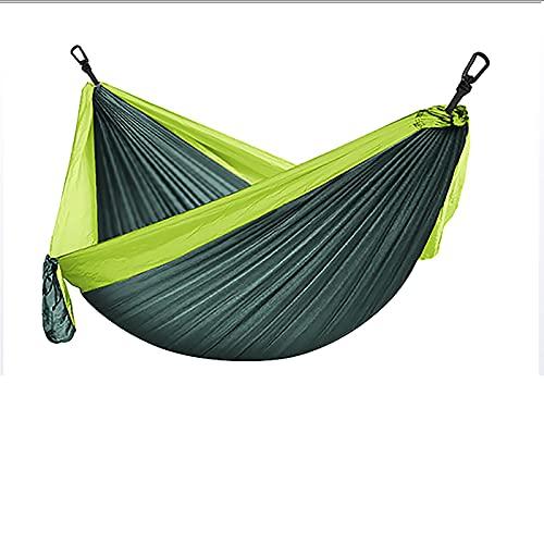 QYQS Productos para Exteriores Tela de paracaídas de Nailon a Juego de Color Individual 270 * 140 Columpio antivuelco para Acampar, Verde