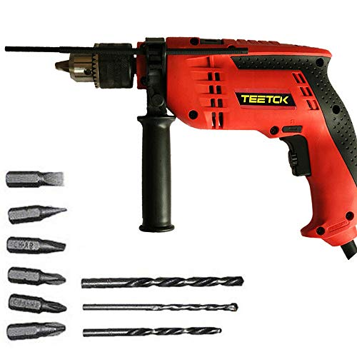 Hammer Drill 650W Electric Impact Drill Hammer Action Variable Speed Masonry Power Corded 10Pcs Set, Hammer and Drill 2 Mode in 1