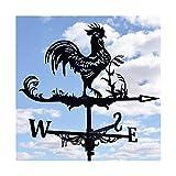 Banderuola segnavento a forma di gallo a forma di motivo retrò intagliato a forma di vuoto Indicatore di direzione del vento Campanello a vento Metallo in acciaio inossidabile Decorazione per giardino