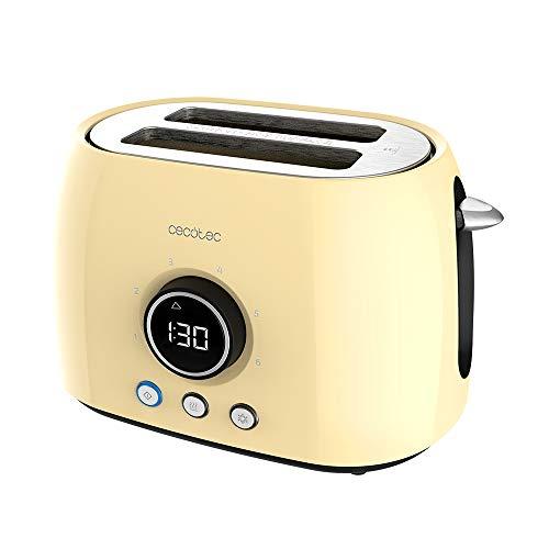 Cecotec Tostadora Digital ClassicToast 8000 Yellow Double. 800 W, 2 Ranuras extraanchas para 2 tostadas, Pantalla Digital, 3 Funciones, Varillas superiores, Diseño Retro en Amarillo