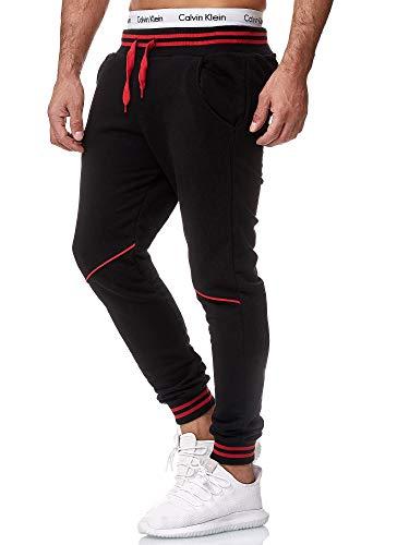OneRedox Herren Jogging Hose Jogger Streetwear Sporthose Modell 1316 Schwarz Rot L