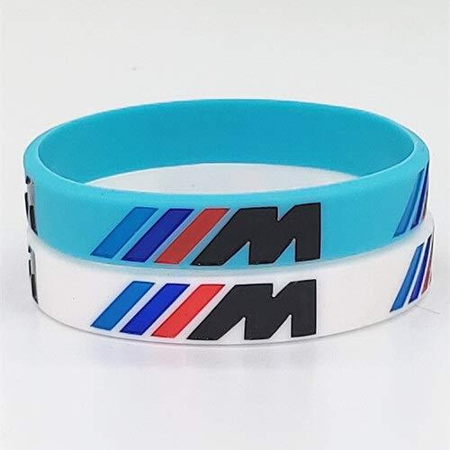 ZJZ 2pcs gravieren Hologram Armband /// M Sport M Power Schwarz Weiß Silikon-Armband-Armband (Metal Color : 8)