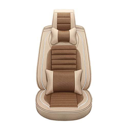J'slife Cojín para automóvil Edición de Lujo 5 Asientos Cubierta de Asiento de Lino de algodón Todo Incluido Incluyendo Almohada para reposacabezas (Color : Brown)