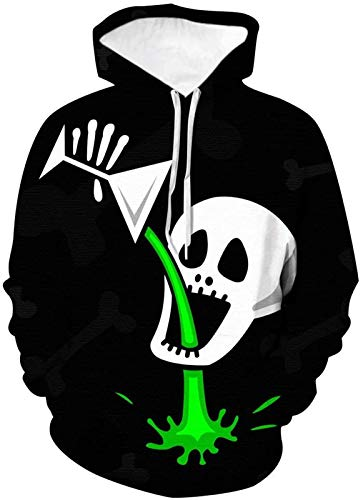 Sudadera unisex con capucha y estampado en 3D, sudadera con capucha para niños con bolsillos, suéter de calavera 3D, para Halloween, 1, XXXXL (color: 3, tamaño: XXXXL)