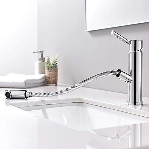 HOMFA Grifo Extraible con Ducha Caliente y Fría para Baño y Cocina Grifería de lavabo Extraible con Tubo de Extensión de 70cm-80cm