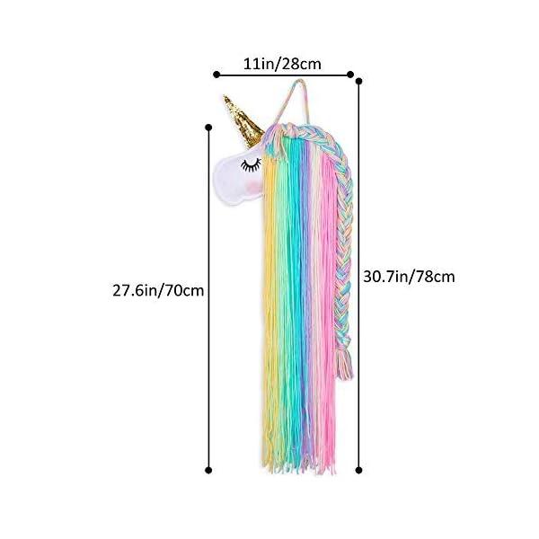 Beinou Unicorn Hair Clips Holder Rainbow Yarn Tassels Hair Bows Storage Shy Unicorn Face Headband Organizer Unicorn… 8
