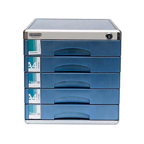 LHQ-HQ Cajón de cajón de 5 capas, aleación de aluminio A4, gabinete de almacenamiento de datos de gabinete bajo (30,5 x 36,5 x 31 cm)