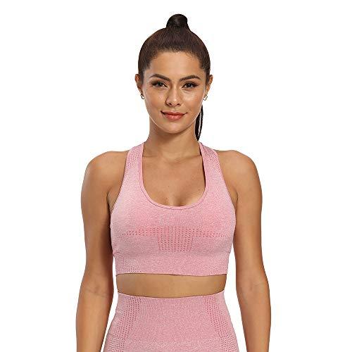 Manufacture Sujetadores deportivos para mujer, soporte medio, yoga, activewear sin costuras, sostén - Rosa - Medium
