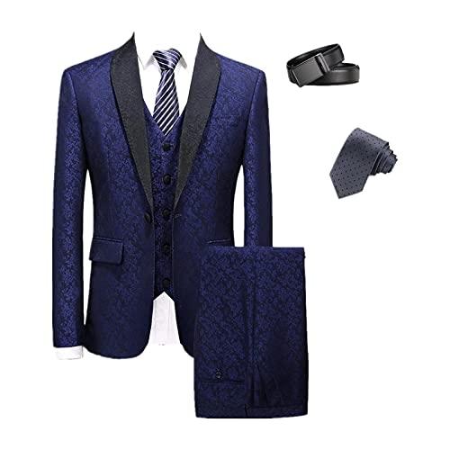 Hombre Slim Fit 5 Piezas Traje Un Botón Floral Color Fiesta Blazer Chaleco Pantalones Set con Corbata y cinturón Azul XL