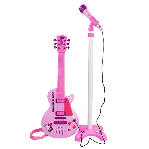 Puyong Juego De Guitarra Eléctrica para Niños, Kit De Micrófono De Karaoke con Base Y Soporte De Micrófono Ajustables, Juguetes Divertidos para Niñas Y Niños, Rosa