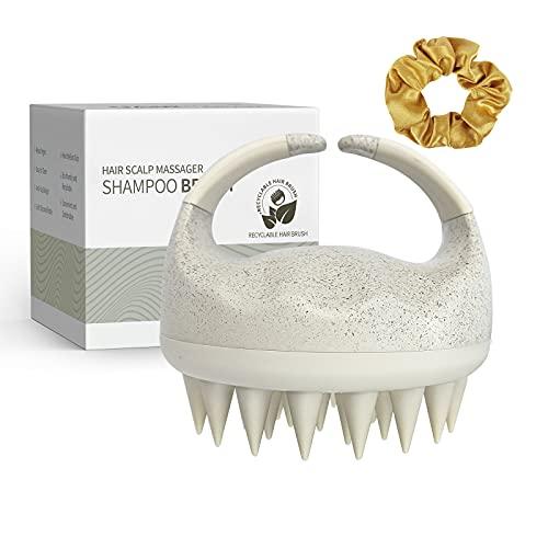 Hair Scalp Massager Shampoo Brush, Sndyi Soft Silicone Scalp Brush for Hair Washing, Scalp Exfoliator Brush for Dandruff, Hair Scrubber Head Massager for Women Men Wet & Dry Hair + Satin Hair Scrunchy