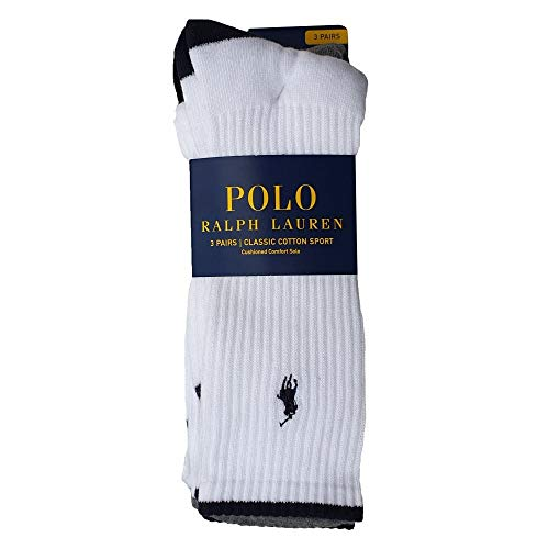 Ralph Lauren Polo Socks Classic Cotton Sports 3 Pack White One Size Mens One Size