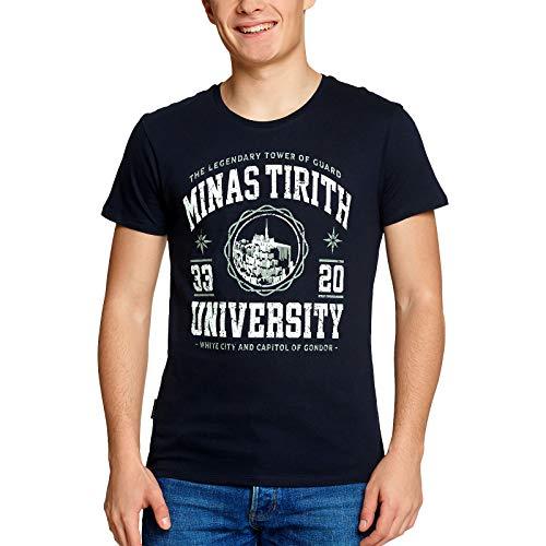 Herr der Ringe Minas Tirith University Herren T-Shirt Fans Elbenwald Baumwolle blau - S
