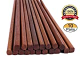 Chopsticks Reusable Wooden Chinese Chopsticks Dishwasher Safe Wood Chopstick,Pack of 10 Natural...