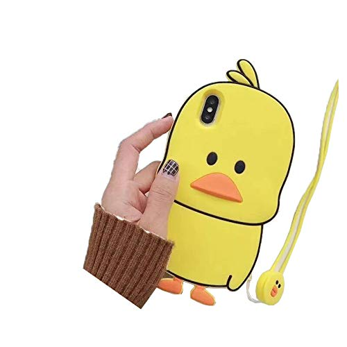 SevenPanda NEU iPhone 11 Pro Hülle, 3D Netter Karikatur Gelber Ente Weicher Silikon Schützender Hülle für iPhone 11 Pro (5.8 Zoll) für Kindermädchen Teenager Damen - Gelb