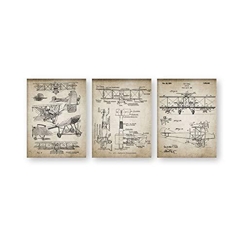 HSFFBHFBH Leinwand Gemälde Doppeldecker Flugzeuge Vintage Blueprints Poster drucken Doppeldecker Flugzeuge Design Aviation Home Wandkunst Dekor 50x70cm (19.7