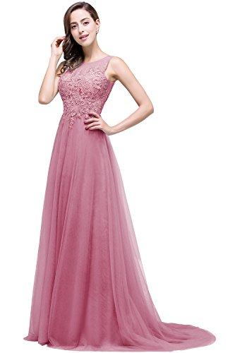 Altrosa Damen A-Linie Lang Spitze Tüll Rückenfrei Abendkleid Ballkleid Hochzeit Brautjungfernkleid 32