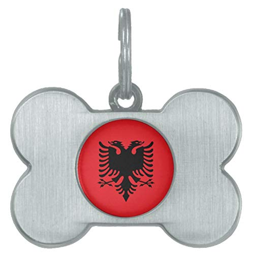 Stainless Steel Pet ID Tags, Albanian Flag Pet ID Tag, Dog Tags, Cat Tags, Bone Shaped ID Tag for Dogs and Cat