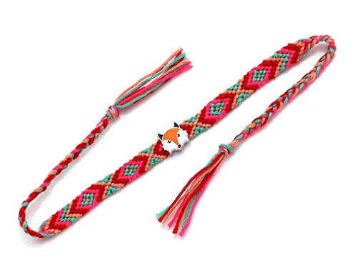 Woven Bracelet,Red Cotton String With Fox Woven Adjustable Charm Bracelets Bohemia Cute For Boy Girl Couples Friendship Men Women Jewelry Gift Unisex