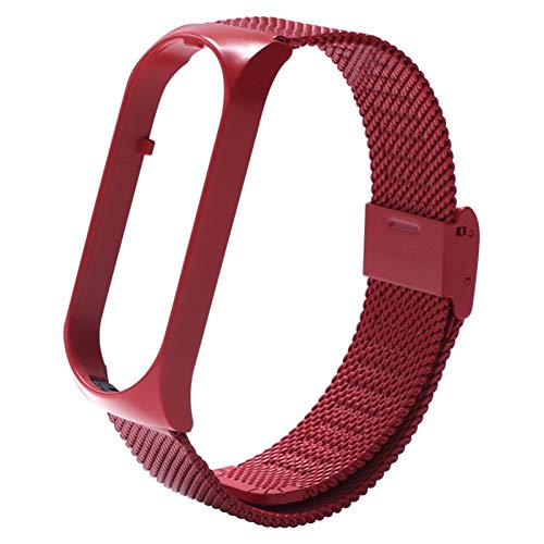 DALIANMAO Correa de Metal de la Banda de Reloj para MI 4 3 5 Pulsera de la Banda de muñeca sin Tornillo Reemplazo de Acero Inoxidable MIBAND para MI 4 3 Pulseras (Color : Red, Size : For Mi Band 3)