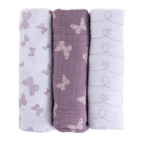 """Ely's & Co. Muslin Swaddle Blanket 100% Soft Muslin Cotton 3 Pack 47""""x 47"""" (Lavender Butterfly)"""
