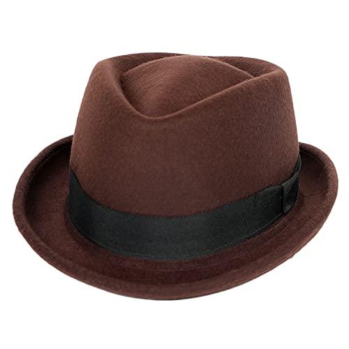 DongBao Sombrero de Fieltro Gorro Pork Pie Mujer/Hombre - Otoño/Invierno - Sombrero de Jazz