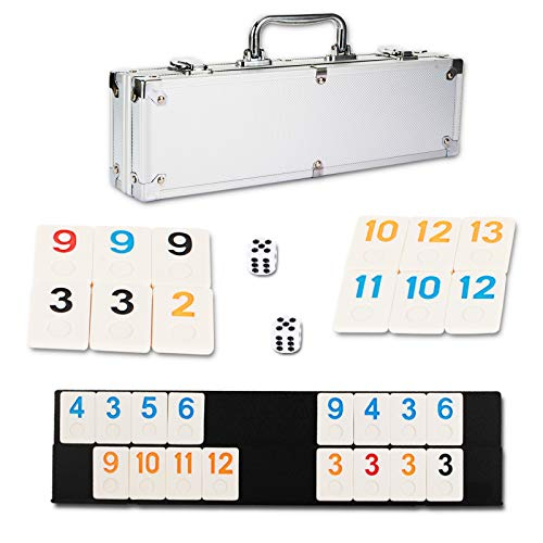 NOLIE 106 Tiles Rummy Cube Game Set with Aluminum Case and 4 AntiSkid Durable Trays for 24 Players