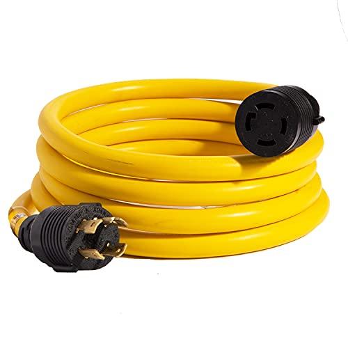 가정용 발전기 코드 30 앰프 4 프롱 발전기 확장 10 FT 125-250V 7500 와트 최대 정격 UL CUL NEMA L-14-30P 고무 10 게이지 중무 L14-30 전송 전력 케이블 잠금