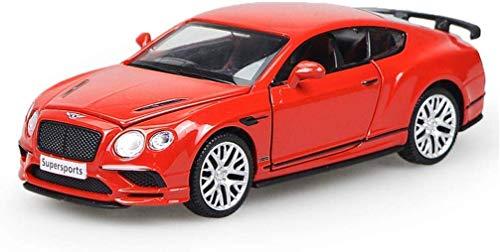 Exterior Modelo de coche modelo de coche 1:32 Bentley Continental Simulación de aleación de fundición a presión de juguete Adornos Colección coche de deportes de 14.5x5.5x4.5cm joyería (Color: Rojo) h