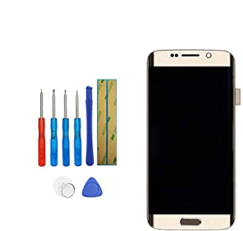 E-YIIVIIL Super AMOLED Compatible with Samsung Galaxy S6 Edge G925A  AT&T  / G925T  T-Mobile  / G925F  Global  Screen LCD Display Touch Screen with Frame with Toolkit  Gold